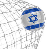 Israeli soccerball in net Stock Photography