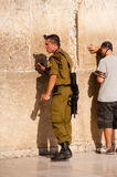 Israeli Soldier in Jerusalem Stock Photo
