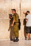 Israeli Soldier in Jerusalem Stock Photo