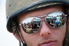 Israeli soldier at West Bank demonstration Royalty Free Stock Photography