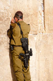 Israeli Soldier at Western Wall Stock Photos