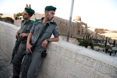 Israeli Soldiers and Al-Aqsa Mosque Stock Image