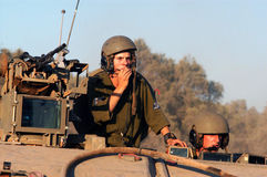 Israeli soldiers in armed vehicle Stock Images