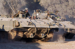 Israeli soldiers and armored vehicle Stock Image