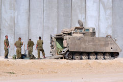 Israeli soldiers and armored vehicle Royalty Free Stock Photography
