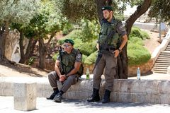 Israeli soldiers. With assault rifle near Jaffa gate at the Jerusalem old town, Jerusalem, Israel royalty free stock image