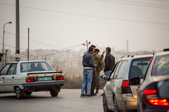 Israeli soldiers checking Palestinians Stock Photos
