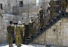 Israeli Soldiers Climbing Steps to Ramparts, Jerusalem Stock Image