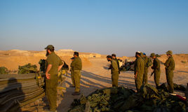 Israeli soldiers excersice in a desert Royalty Free Stock Photo