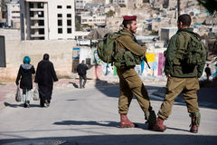 Israeli Soldiers and Hebron Settlement Royalty Free Stock Photos