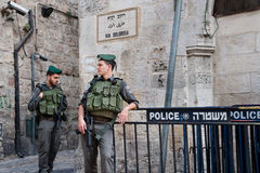 Israeli soldiers in Jerusalem. Israeli soldiers occupy a street corner on the Via Dolorosa in the Old City of Jerusalem, November 5, 2012 Royalty Free Stock Images