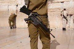 Israeli Soldiers at Jerusalem's Western Wall Stock Image