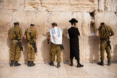 Israeli soldiers at Jerusalem's Western Wall Royalty Free Stock Image