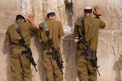 Israeli soldiers at Jerusalem's Western Wall Stock Photos