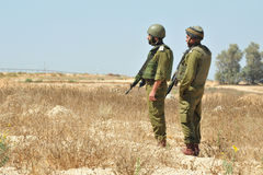 Israeli soldiers. KEREM SHALOM, ISR - JULY 05:Israeli soldiers near Gaza strip on July 05 2010.IDF is one of Israeli society's most prominent institutions Royalty Free Stock Images