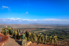 Israeli soldiers on Mount Bental Royalty Free Stock Photo