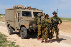 Israeli soldiers. NACHAL OZ, ISR - JAN 27:Israeli soldiers near Gaza strip on Jan 27 2009.IDF is one of Israeli society's most prominent institutions Stock Photo