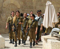 Israeli soldiers at the Old City of Jerusalem. Royalty Free Stock Images