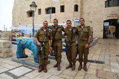 Israeli soldiers at the Old City of Jerusalem. Stock Photos
