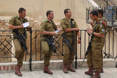 Israeli soldiers at the Old City of Jerusalem. Royalty Free Stock Photography