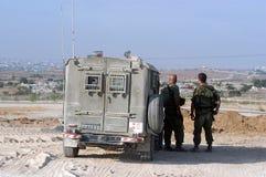 Israeli soldiers overlooking Gaza strip Royalty Free Stock Photo