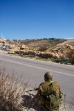 Israeli soldiers patrol in palestinian village Royalty Free Stock Photo