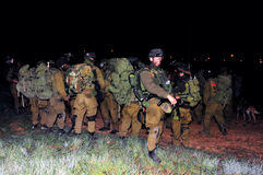 Israeli Soldiers Ready for Ground Incursion in Gaza Strip. NACHAL OZ, ISR - JAN 03:Israeli soldiers during the  first land incursion into Gaza strip  during cast Royalty Free Stock Photo