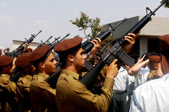 Israeli soldiers with riffles Stock Photos