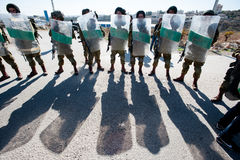 Israeli soldiers with riot shields Stock Images