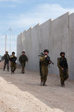Israeli Soldiers and Separation Barrier Stock Image