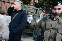 Israeli Soldiers and Settlers in East Jerusalem Stock Images