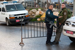 Israeli Soldiers and Settlers in East Jerusalem Stock Image