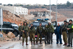 Israeli Soldiers and West Bank Settlement Royalty Free Stock Photography