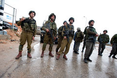 Israeli Soldiers and West Bank Settlement Stock Image