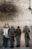 Israeli Soldiers at the Western Wall Stock Photos