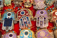 Israeli souvenirs. Lots of HAMSA israeli souvenirs royalty free stock image
