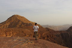 Israeli student trekking in beautiful nature, Israel, negev Stock Photos