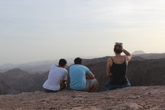 Group of Israeli students enjoying beautiful landscape, field trip, israel Royalty Free Stock Images