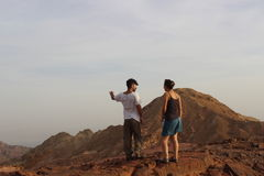 Israeli students enjoying the view of a beautiful landscape, couple in nature Royalty Free Stock Image