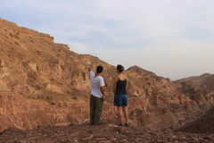 Israeli students outdoors in the nature, israel. A field trip to study the biology and geology of the desert in southern Israel. Three Israeli students in a Stock Photo