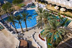 The Israeli summer in Eilat. Israel; eilat; hotel; swimming pool, be on holiday Stock Image