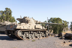 The Israeli tank is after the Doomsday Yom Kippur War on the Golan Heights in  Israel, near the border with Syria Royalty Free Stock Image