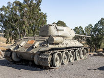 The Israeli tank is after the Doomsday Yom Kippur War on the Golan Heights in  Israel, near the border with Syria Royalty Free Stock Photos