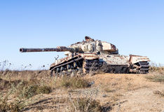 The Israeli tank is after the Doomsday Yom Kippur War on the Golan Heights in Israel, near the border  with Syria Stock Photo