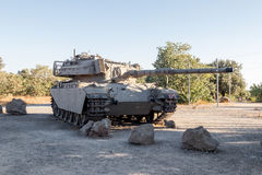 The Israeli tank is after the Doomsday Yom Kippur War on the Golan Heights in Israel, near the border  with Syria Stock Image