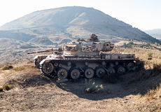 The Israeli tank is after the Doomsday Yom Kippur War on the Golan Heights in Israel, near the border  with Syria Stock Photography