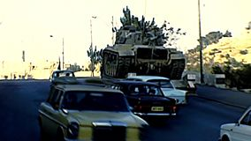 Israeli tank in Jerusalem. Jerusalem, Israel - Circa 1979: Israeli tank in Jerusalem streets around the old city with vintage cars in Damascus Gate area stock footage