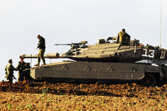 Israeli tank near Gaza strip Royalty Free Stock Photos