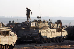 Israeli tanks near Gaza strip Royalty Free Stock Photography