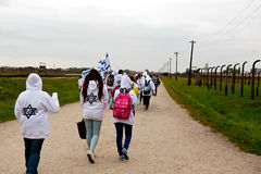 Israeli tourists in Birkenau Royalty Free Stock Photos